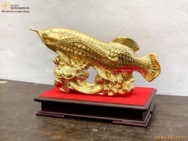 Tượng Cá Chép Như Ý phong thủy 20x40cm đồng vàng thếp vàng