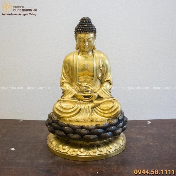 Tượng Đức Phật A Di Đà tọa đài sen cao 60cm bằng đồng vàng