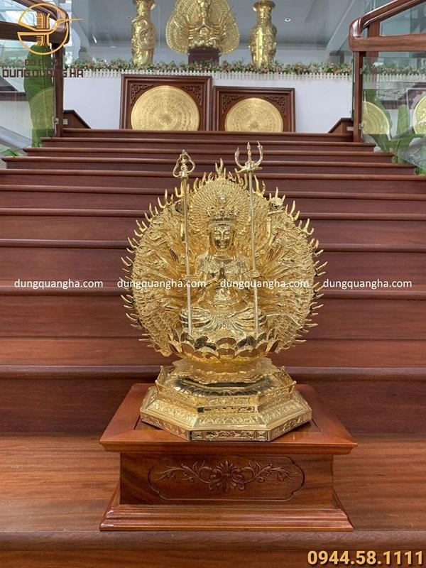Tượng phật Thiên Thủ Thiên Nhãn mạ vàng 24K