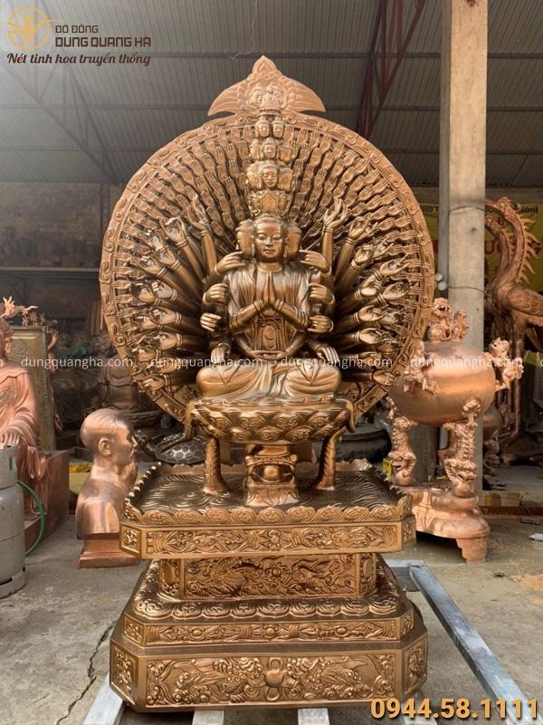 Tượng Phật Thiên Thủ Thiên Nhãn tôn nghiêm bằng đồng cao 1m55