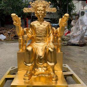 Tượng Trần Hưng Đạo ngồi ngai cao 70cm đồng đỏ thếp vàng