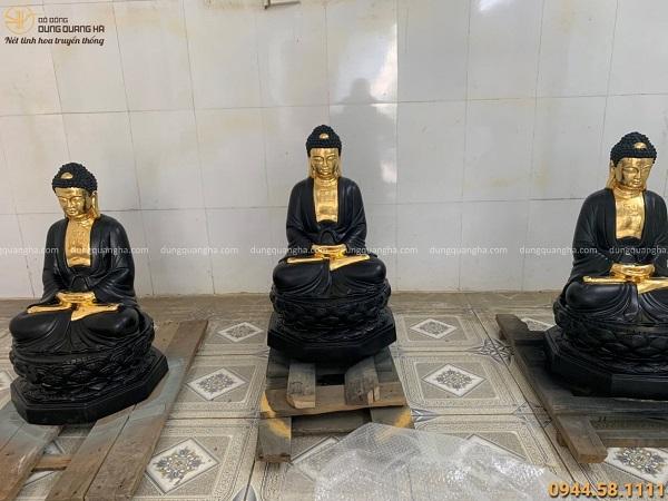 Bộ tượng Đức Phật A Di Đà thếp vàng đẹp tinh xảo tôn nghiêm