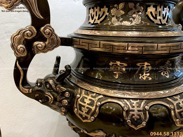 Đỉnh mao rồng thờ cúng cao 1m3 bằng đồng đỏ cạo màu độc đáo