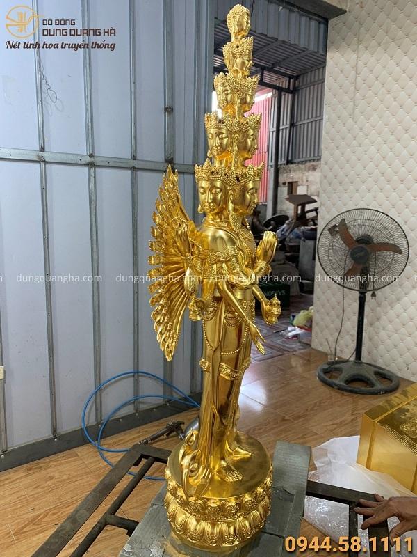Tượng Phật Thiên Thủ Thiên Nhãn đứng cao 90cm thếp vàng 9999