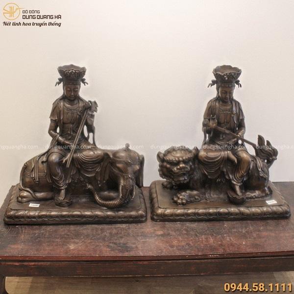 Bộ tượng Văn Thù và Phổ Hiền Bồ Tát 54x52cm bằng đồng vàng