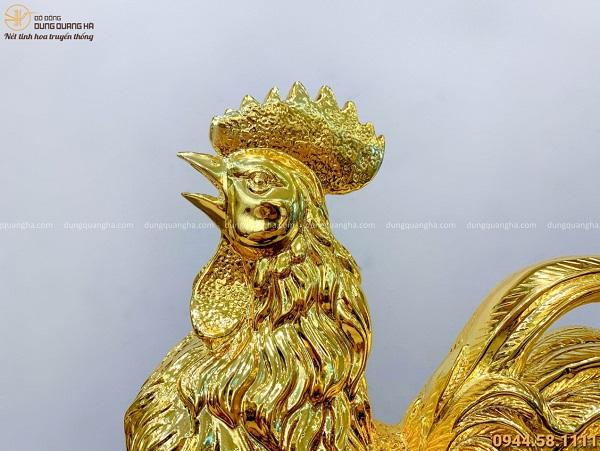 Tượng gà trống phong thủy thịnh vượng bằng đồng mạ vàng 24k