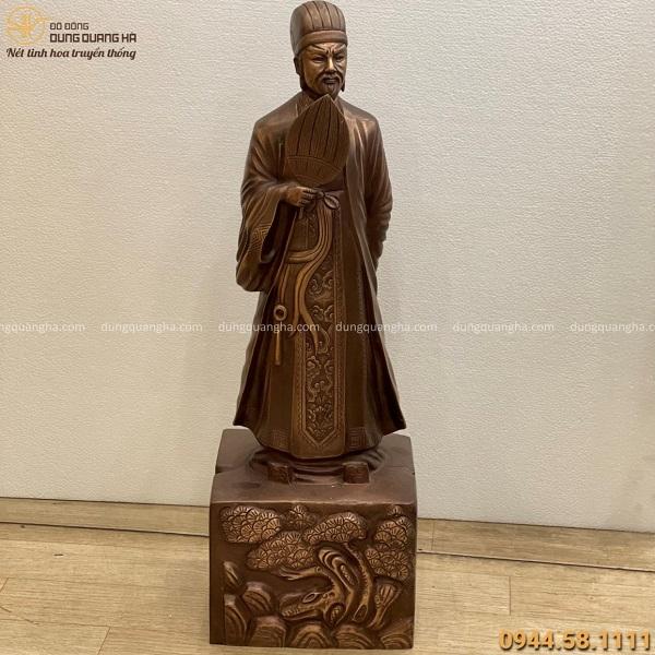 Tượng Khổng Minh cao 70cm bằng đồng đỏ hun giả cổ tinh xảo