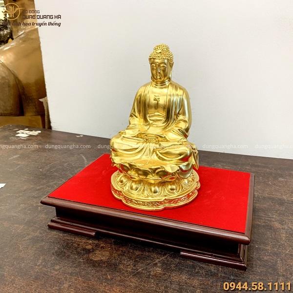Tượng Phật A Di Đà bằng đồng cao 25cm thếp vàng tôn nghiêm