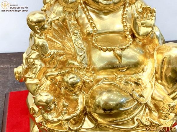 Tượng Phật Di Lặc phúc lộc và 5 em bé bằng đồng dát vàng 9999