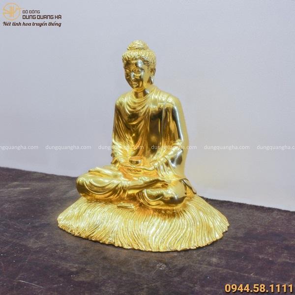 Tượng Phật Thích Ca tọa thiền bằng đồng dát vàng tinh xảo