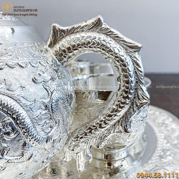 Bộ ấm chén cao cấp chạm rồng phượng mạ bạc đường kính 24cm