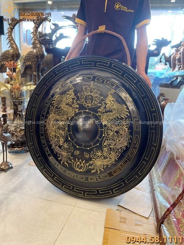Chiêng đồng chạm rồng cổ kính đường kính 1m nặng 52,4 kg