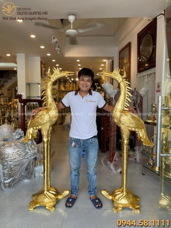 Đôi hạc thờ cỡ lớn cao 1m7 bằng đồng vàng catut thếp vàng 9999