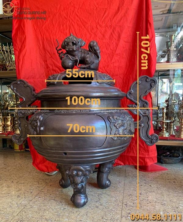 Lư hương đẹp hoá vàng bằng đồng đỏ hun giả cổ cao 1m07