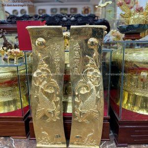 Tranh Lý Ngư Vọng Nguyệt đồng đỏ mạ vàng kích thước 1m2x40cm