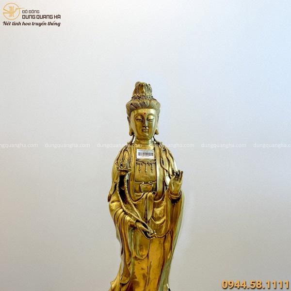 Tượng Đại Thế Chí Bồ Tát tôn nghiêm bằng đồng vàng 62x16cm