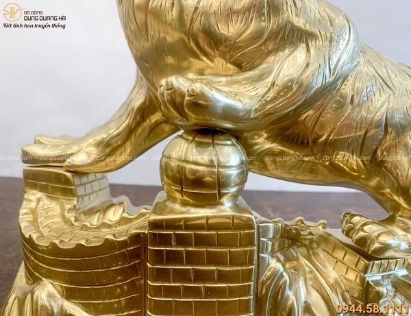 Tượng Hổ phong thủy tài lộc bằng đồng catut kích thước 42x32cm