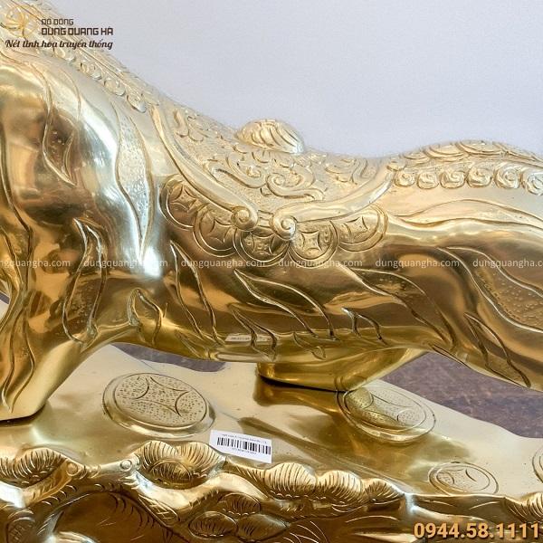Tượng ông Hổ phong thủy độc đáo bằng đồng catut 64x36cm