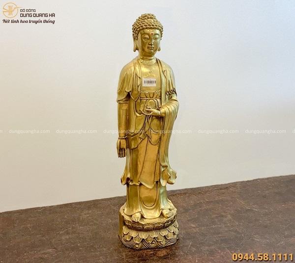 Tượng Phật Adida đứng bằng đồng vàng đẹp tôn nghiêm 62x16cm