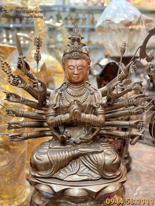 Tượng Phật Chuẩn Đề cao 81cm tinh xảo bằng đồng đỏ phủ bóng