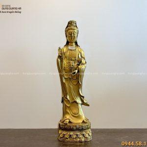 Tượng Phật Quan Âm đứng bằng đồng vàng kích thước 62x16cm