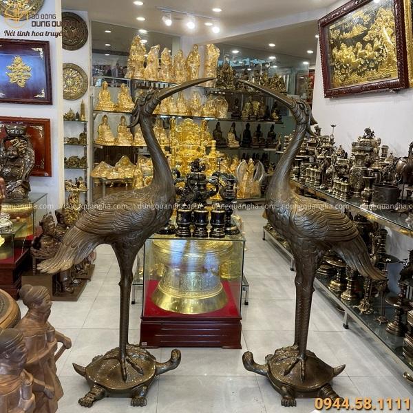 Đôi hạc thờ cỡ lớn cao 1m9 bằng đồng đỏ đẹp trang nghiêm