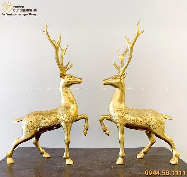 Đôi tượng hươu phong thủy phúc lộc bằng đồng dát vàng 9999