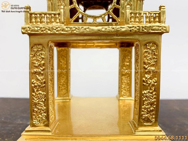 Mô hình Khuê Văn Các bằng đồng dát vàng 9999 đẹp tinh xảo