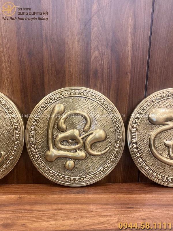 Tranh chữ Phúc Lộc Thọ đồng vàng hun giả cổ đường kính 30cm