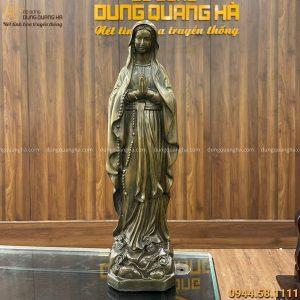 Tượng Đức Mẹ ban ơn bằng đồng vàng hun giả cổ cao 40 cm