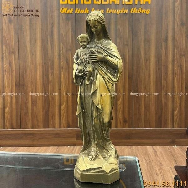 Tượng Đức Mẹ Maria đẹp trang nghiêm bằng đồng vàng cao 40 cm