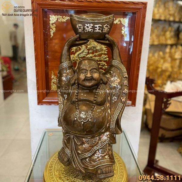 Tượng Phật Di Lặc đẹp bằng đồng đỏ khảm tam khí cao 70cm