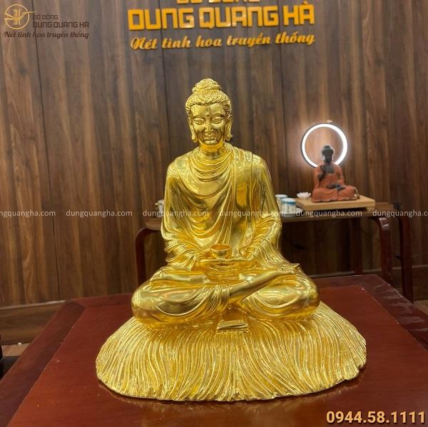 Tượng Phật Thích Ca ngồi trên rơm bằng đồng dát vàng cao 30cm