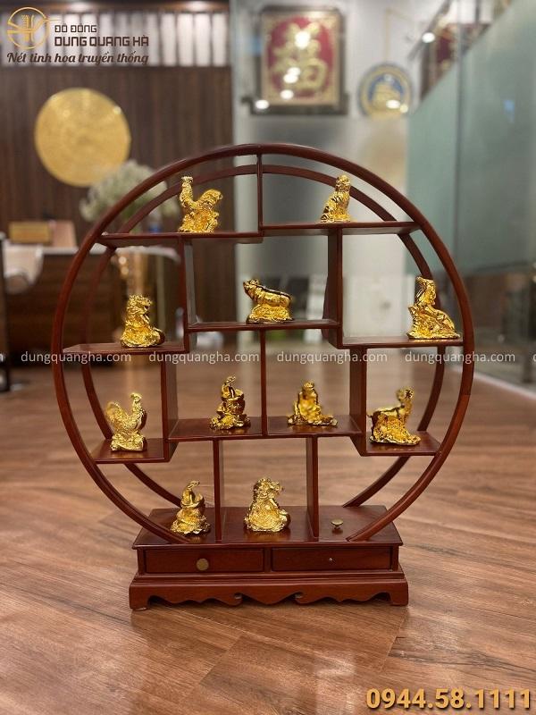 Bộ 12 con giáp bằng đồng mạ vàng 24k tinh xảo trang nghiêm