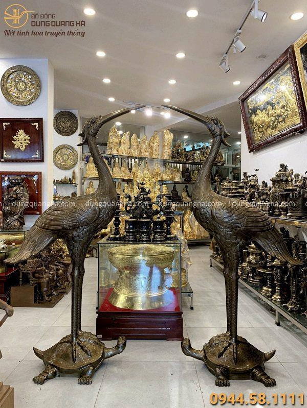 Bộ hạc thờ cỡ lớn trang nghiêm cao 1m9 bằng đồng đỏ tinh xảo