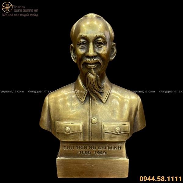 Tượng Bác Hồ bán thân bằng đồng vàng hun giả cổ cao 15 cm
