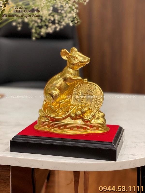 Tượng Chuột phong thủy tài lộc bằng đồng catut dát vàng 17x16cm