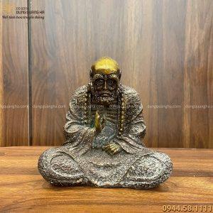 Tượng Đạt Ma bằng đồng vàng hun giả cổ độc đáo cao 15cm