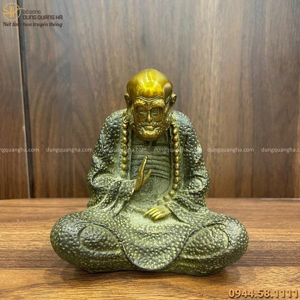Tượng Đạt Ma sư tổ bằng đồng vàng hun xanh tinh xảo cao 12cm