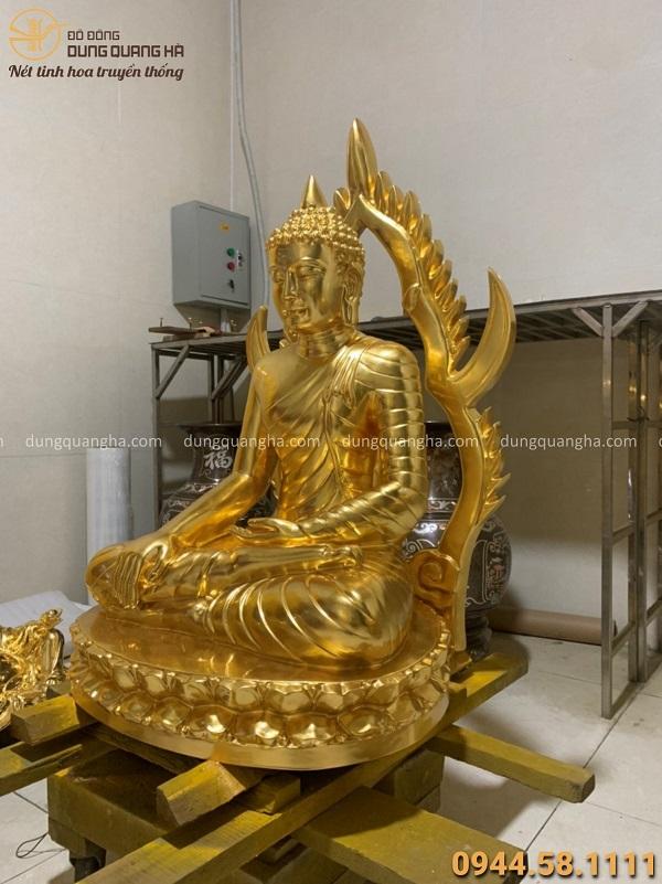 Tượng Phật Xiêm Thái Lan cao 90cm bằng đồng đỏ thếp vàng 9999
