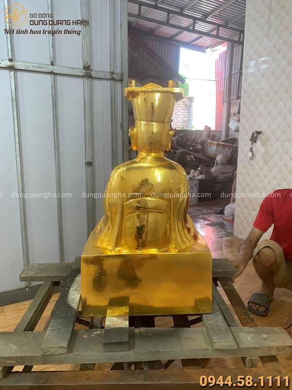 Tượng Vua Cha Bát Hải tinh xảo bằng đồng đỏ mạ vàng cao 67cm
