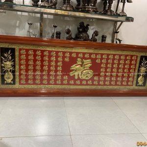 Tranh Bách Phúc bằng đồng vàng sơn đỏ kích thước 2m05 x 66cm