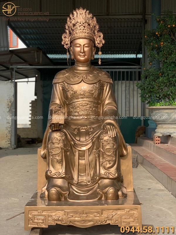 Tượng Bà Chúa Lộc bằng đồng đỏ tinh xảo cao 1m8 nặng 700kg