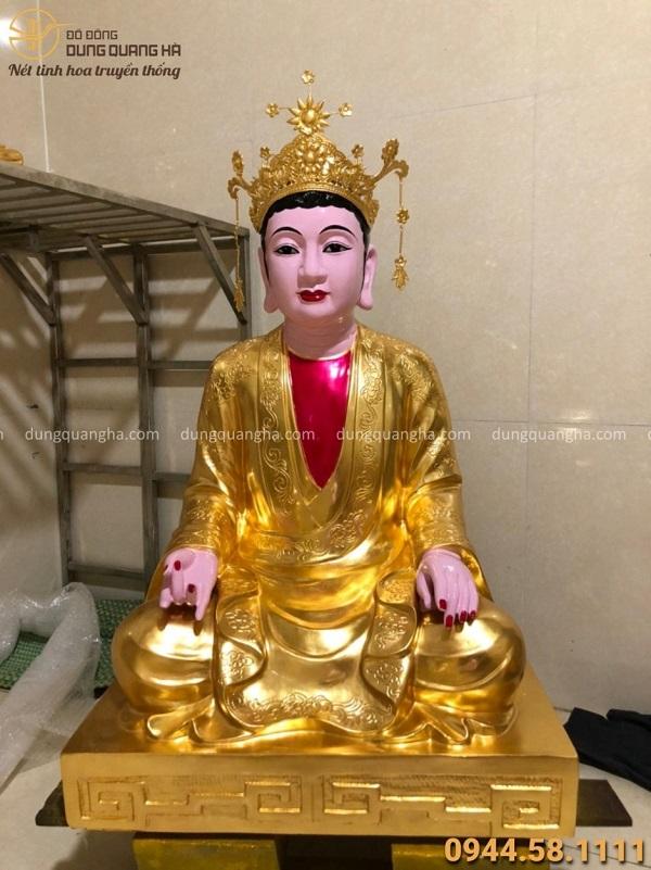 Tượng Mẫu Đệ Nhất Thượng Thiên đồng đỏ thếp vàng cao 70 cm