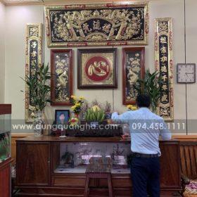Ảnh bộ hoành phi câu đối trên bàn thờ gia tiên do khách tự chụp_5dda26f0035a6.jpeg