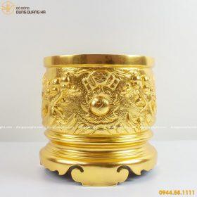 Bát hương đẹp bằng đồng mạ vàng 24k tinh xảo