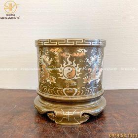 Bát hương thờ cúng bằng đồng khảm tam khí đường kính 25cm