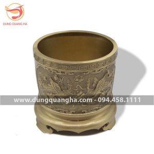 Bát hương thờ cúng đẹp bằng đồng vàng mộc