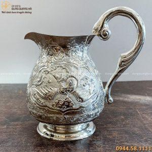 Bình nước đẹp bằng đồng hoa văn rồng phượng cao 15cm mạ bạc