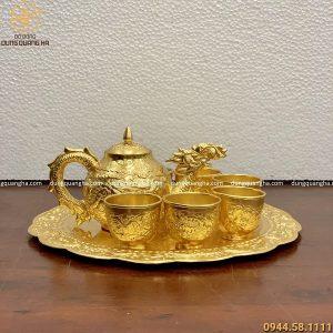 Bộ ấm chén uống trà cao cấp mạ vàng 24k đẹp tinh xảo